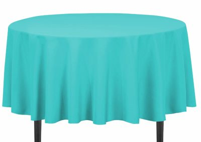 Linen Turquoise Tablecloth (90-Inch Round)